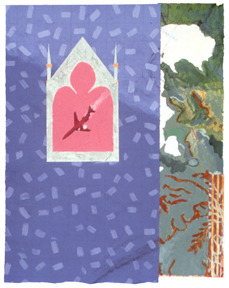 "Shrine with Airplane - 15"" x 12"", Mixed Media, Acrylic, Casein o"