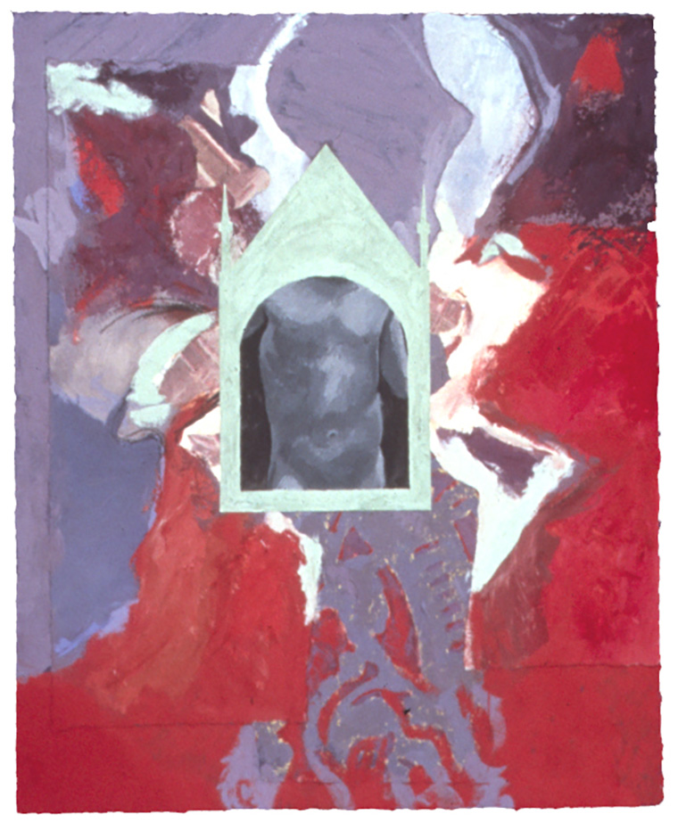 "Shrine with Torso - 15"" x 12"", Mixed Media, Acrylic, Casein on P"